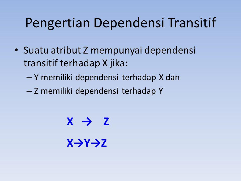 Pengertian Dependensi Transitif Suatu atribut Z mempunyai dependensi transitif terhadap X jika: – Y memiliki dependensi terhadap X dan – Z memiliki de