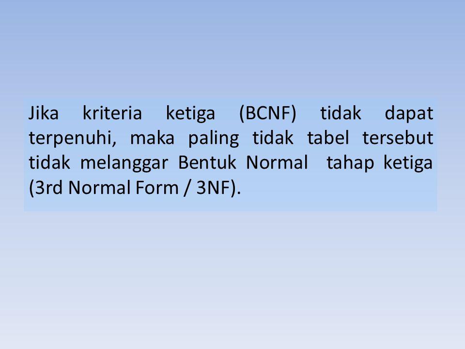 Jika kriteria ketiga (BCNF) tidak dapat terpenuhi, maka paling tidak tabel tersebut tidak melanggar Bentuk Normal tahap ketiga (3rd Normal Form / 3NF)