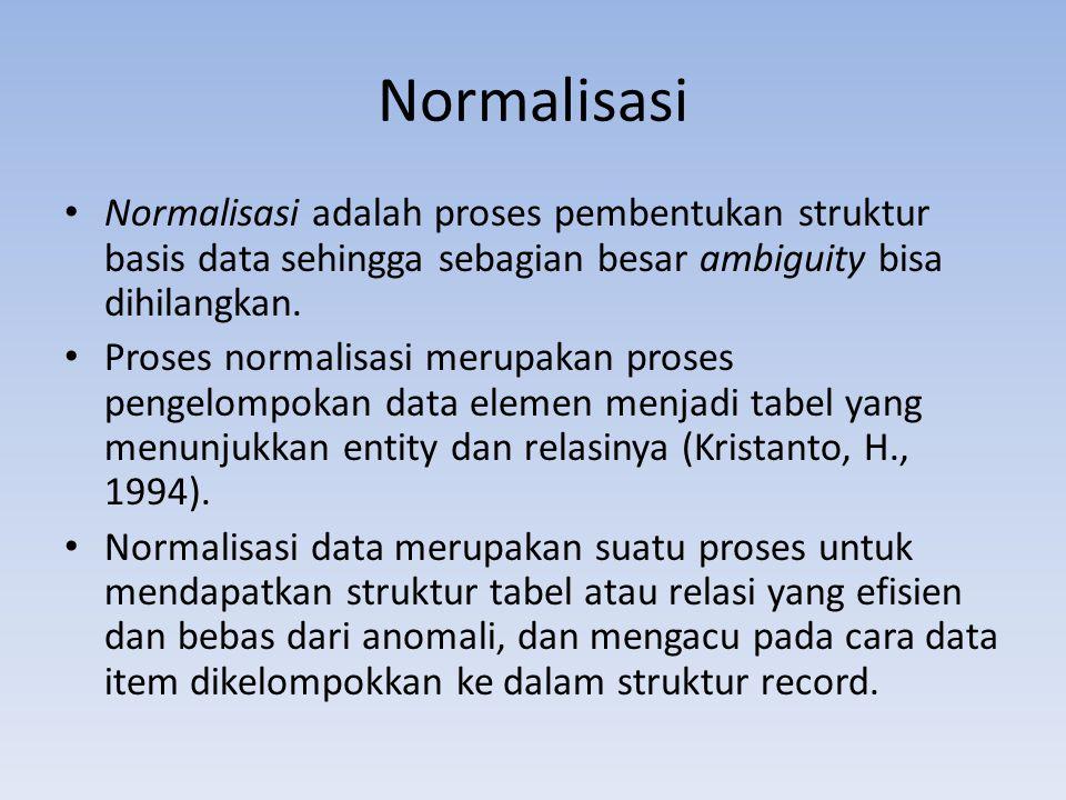 Normalisasi Normalisasi adalah proses pembentukan struktur basis data sehingga sebagian besar ambiguity bisa dihilangkan. Proses normalisasi merupakan