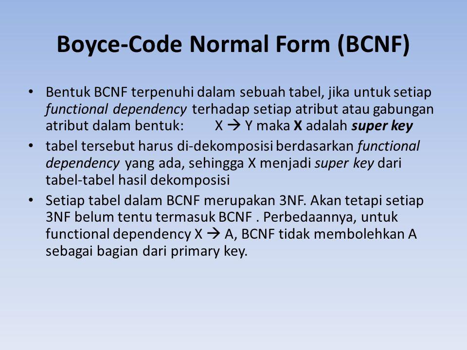 Boyce-Code Normal Form (BCNF) Bentuk BCNF terpenuhi dalam sebuah tabel, jika untuk setiap functional dependency terhadap setiap atribut atau gabungan