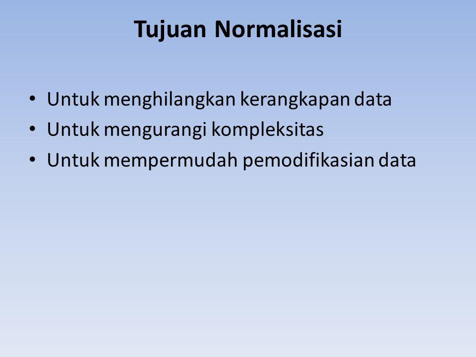 Tujuan Normalisasi Untuk menghilangkan kerangkapan data Untuk mengurangi kompleksitas Untuk mempermudah pemodifikasian data
