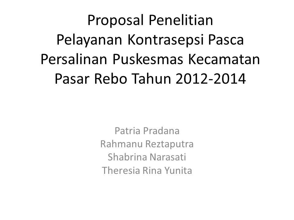 Proposal Penelitian Pelayanan Kontrasepsi Pasca Persalinan Puskesmas Kecamatan Pasar Rebo Tahun 2012-2014 Patria Pradana Rahmanu Reztaputra Shabrina N