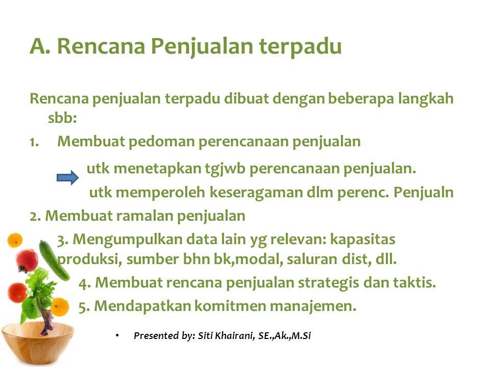 A. Rencana Penjualan terpadu Rencana penjualan terpadu dibuat dengan beberapa langkah sbb: 1.Membuat pedoman perencanaan penjualan utk menetapkan tgjw
