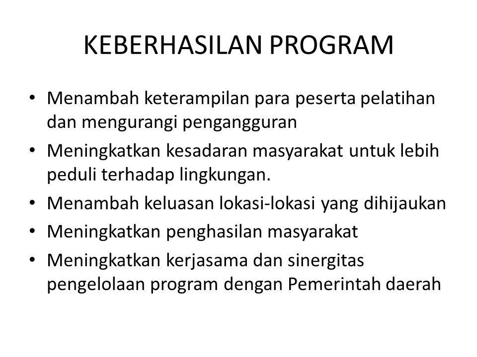 KEBERHASILAN PROGRAM Menambah keterampilan para peserta pelatihan dan mengurangi pengangguran Meningkatkan kesadaran masyarakat untuk lebih peduli ter