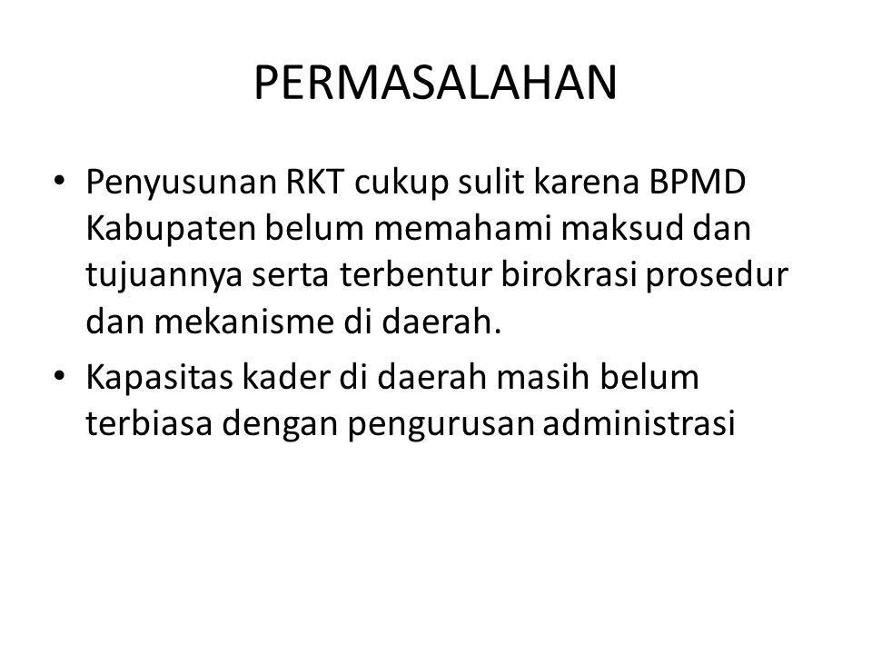 PERMASALAHAN Penyusunan RKT cukup sulit karena BPMD Kabupaten belum memahami maksud dan tujuannya serta terbentur birokrasi prosedur dan mekanisme di