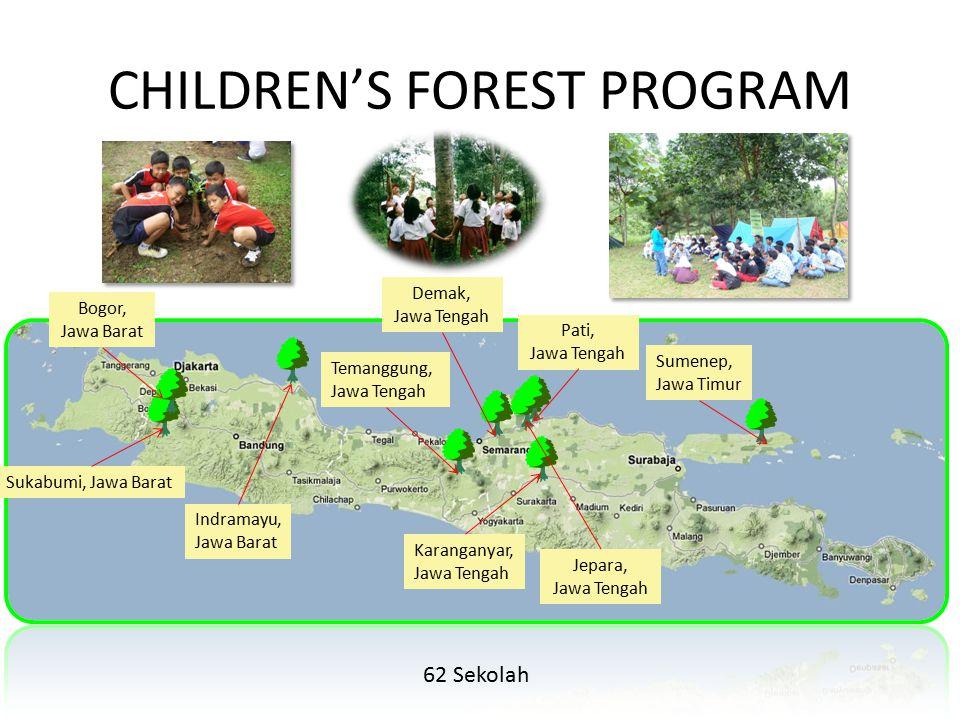 CHILDREN'S FOREST PROGRAM Sukabumi, Jawa Barat Bogor, Jawa Barat Temanggung, Jawa Tengah Indramayu, Jawa Barat Karanganyar, Jawa Tengah Demak, Jawa Te