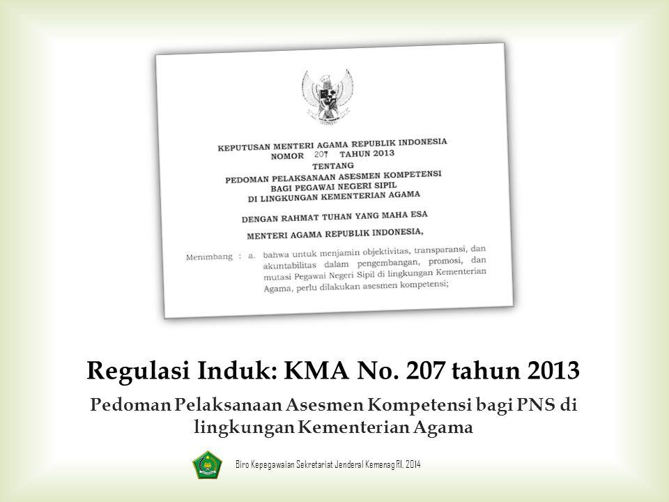 Regulasi Induk: KMA No. 207 tahun 2013 Pedoman Pelaksanaan Asesmen Kompetensi bagi PNS di lingkungan Kementerian Agama Biro Kepegawaian Sekretariat Je