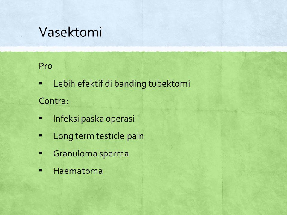 Vasektomi Pro ▪ Lebih efektif di banding tubektomi Contra: ▪ Infeksi paska operasi ▪ Long term testicle pain ▪ Granuloma sperma ▪ Haematoma