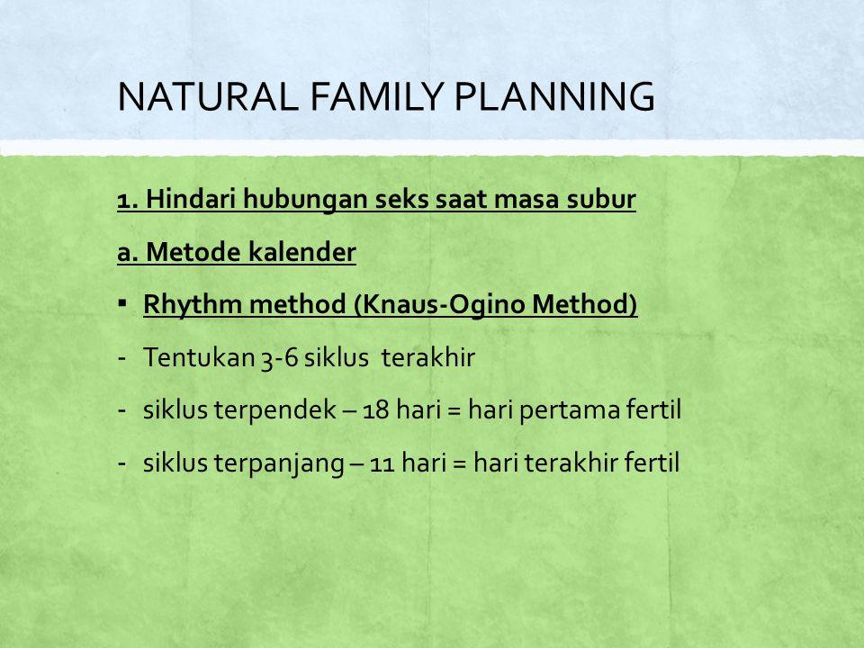 NATURAL FAMILY PLANNING 1.Hindari hubungan seks saat masa subur a.
