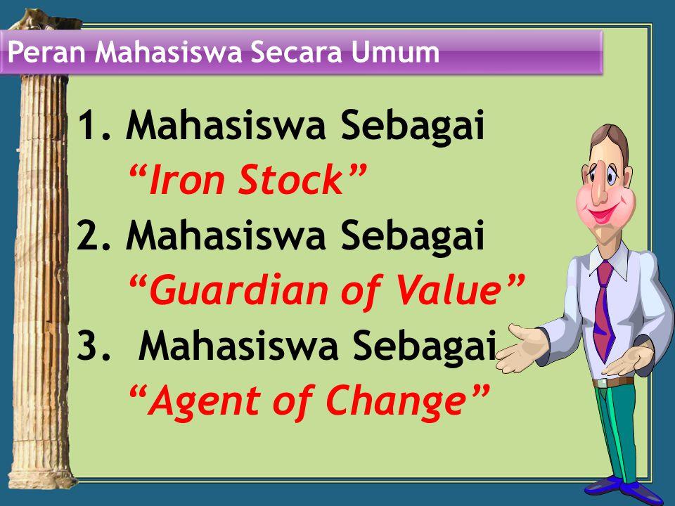 1.Mahasiswa Sebagai Iron Stock 2. Mahasiswa Sebagai Guardian of Value 3.