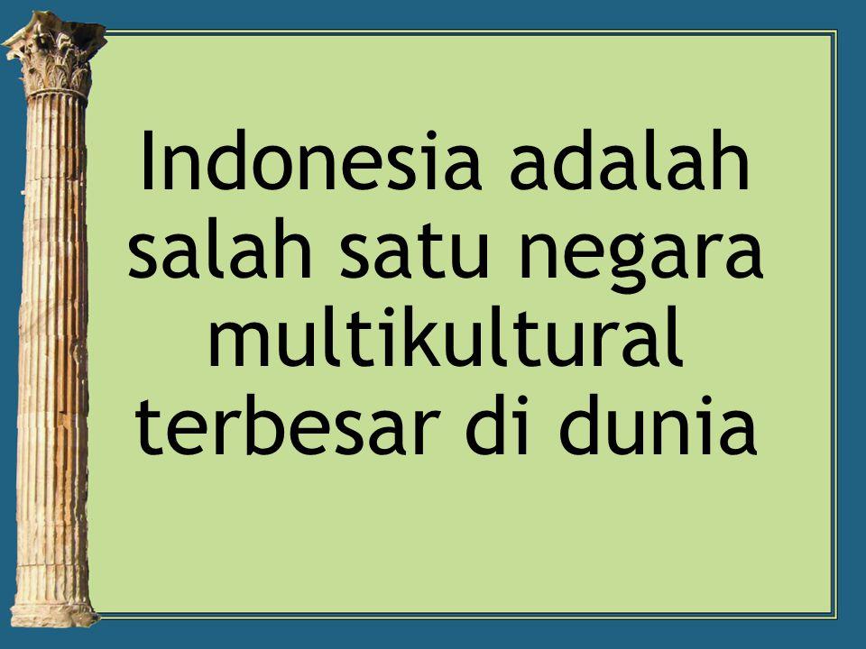 Indonesia adalah salah satu negara multikultural terbesar di dunia