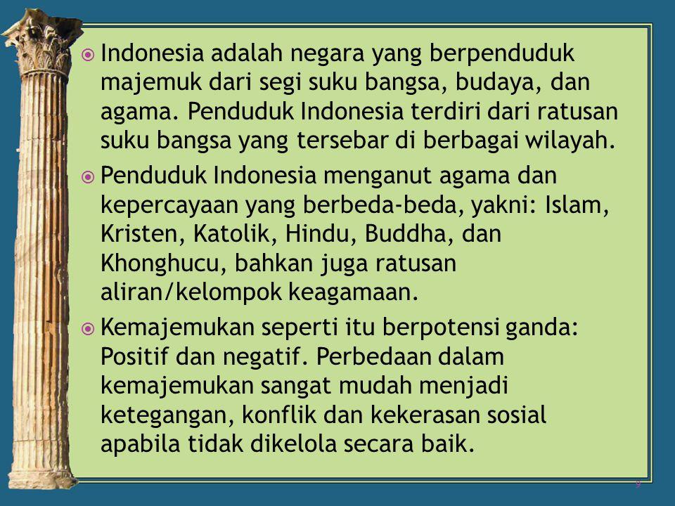  Indonesia adalah negara yang berpenduduk majemuk dari segi suku bangsa, budaya, dan agama.