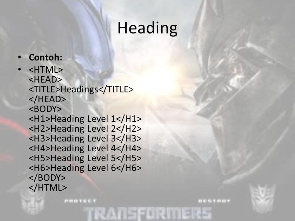 Heading Contoh: Headings Heading Level 1 Heading Level 2 Heading Level 3 Heading Level 4 Heading Level 5 Heading Level 6