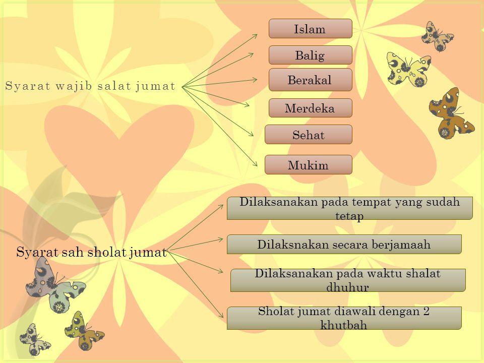 1.Sholat jumat dilakukan pada waktu sholat dhuhur pada waktu hari jumat.
