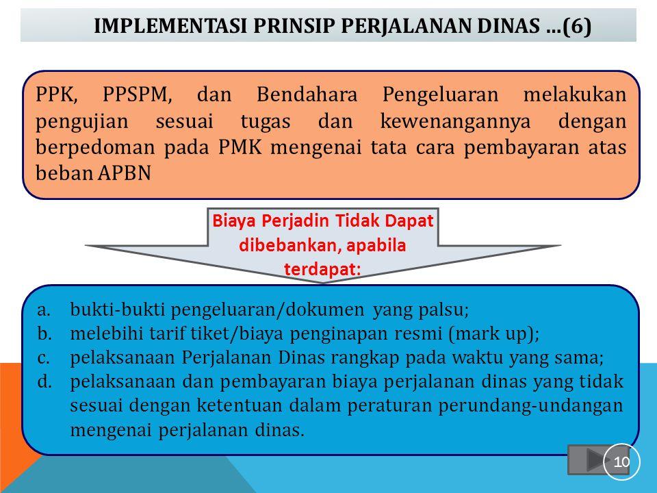 IMPLEMENTASI PRINSIP PERJALANAN DINAS …(6) PPK, PPSPM, dan Bendahara Pengeluaran melakukan pengujian sesuai tugas dan kewenangannya dengan berpedoman