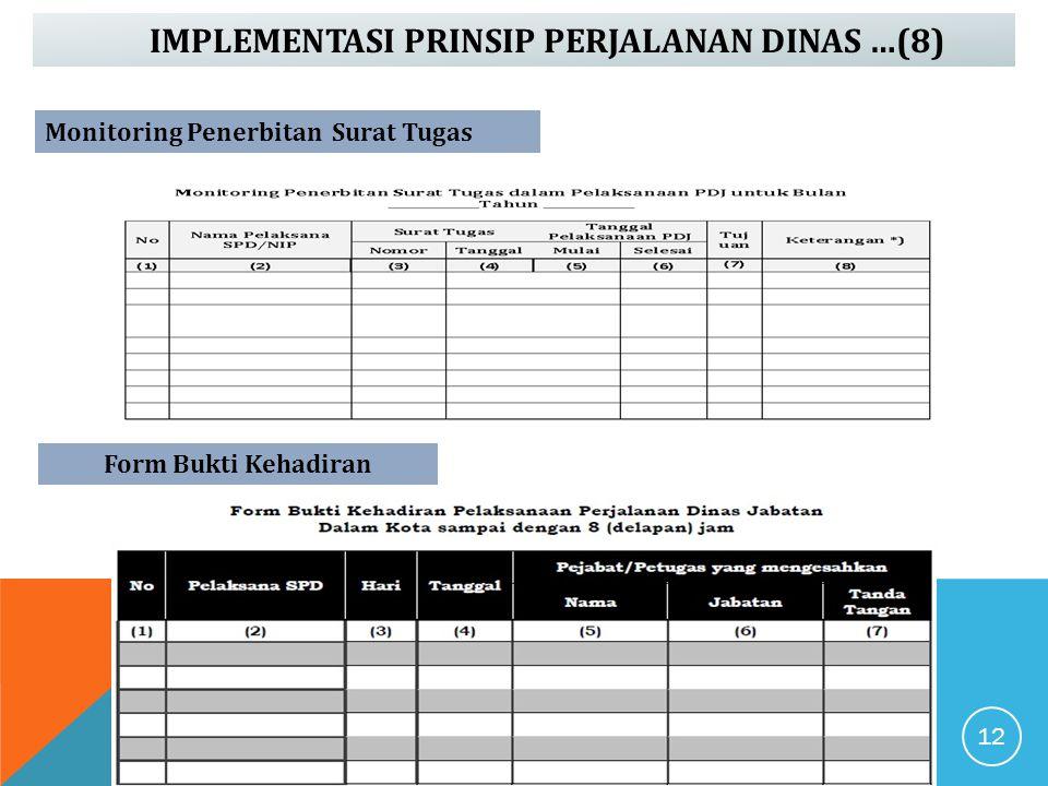 IMPLEMENTASI PRINSIP PERJALANAN DINAS …(8) Form Bukti Kehadiran Monitoring Penerbitan Surat Tugas 12