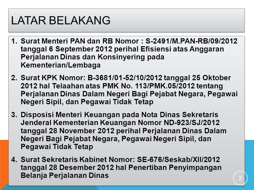 LATAR BELAKANG 1.Surat Menteri PAN dan RB Nomor : S-2491/M.PAN-RB/09/2012 tanggal 6 September 2012 perihal Efisiensi atas Anggaran Perjalanan Dinas da
