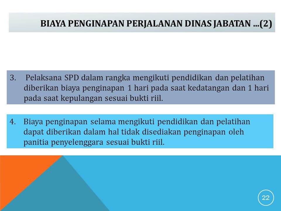 BIAYA PENGINAPAN PERJALANAN DINAS JABATAN...(2) 3. Pelaksana SPD dalam rangka mengikuti pendidikan dan pelatihan diberikan biaya penginapan 1 hari pad