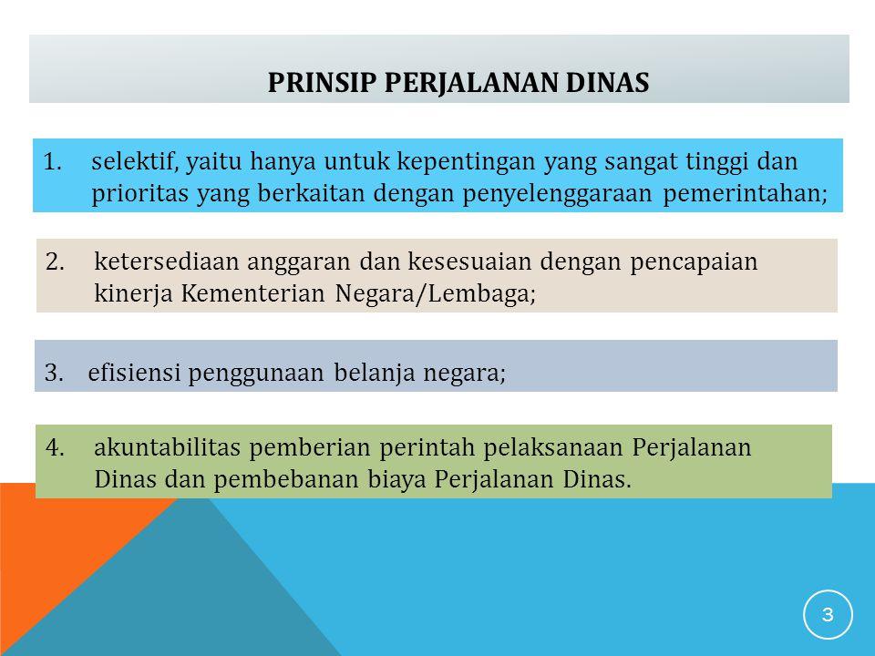 PRINSIP PERJALANAN DINAS 1.selektif, yaitu hanya untuk kepentingan yang sangat tinggi dan prioritas yang berkaitan dengan penyelenggaraan pemerintahan