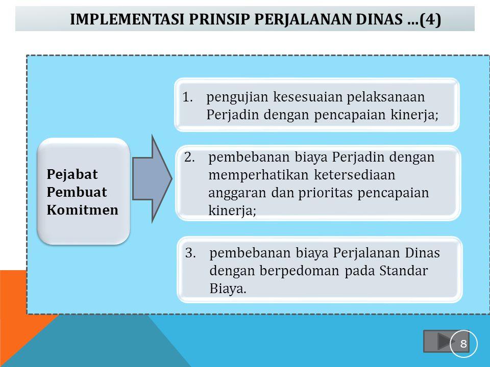 IMPLEMENTASI PRINSIP PERJALANAN DINAS …(4) melaksanakan perjalanan dinas sesuai tugas yang diberikan; Pejabat Pembuat Komitmen 1.pengujian kesesuaian