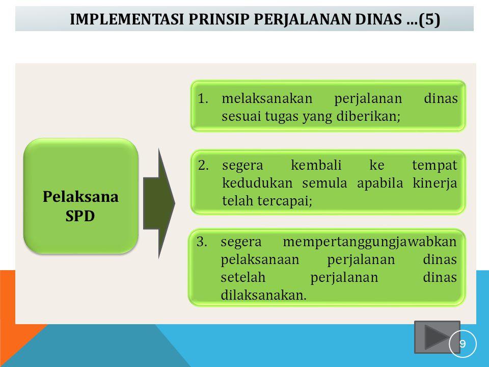 IMPLEMENTASI PRINSIP PERJALANAN DINAS …(5) Pelaksana SPD 1.melaksanakan perjalanan dinas sesuai tugas yang diberikan; 2.segera kembali ke tempat kedud