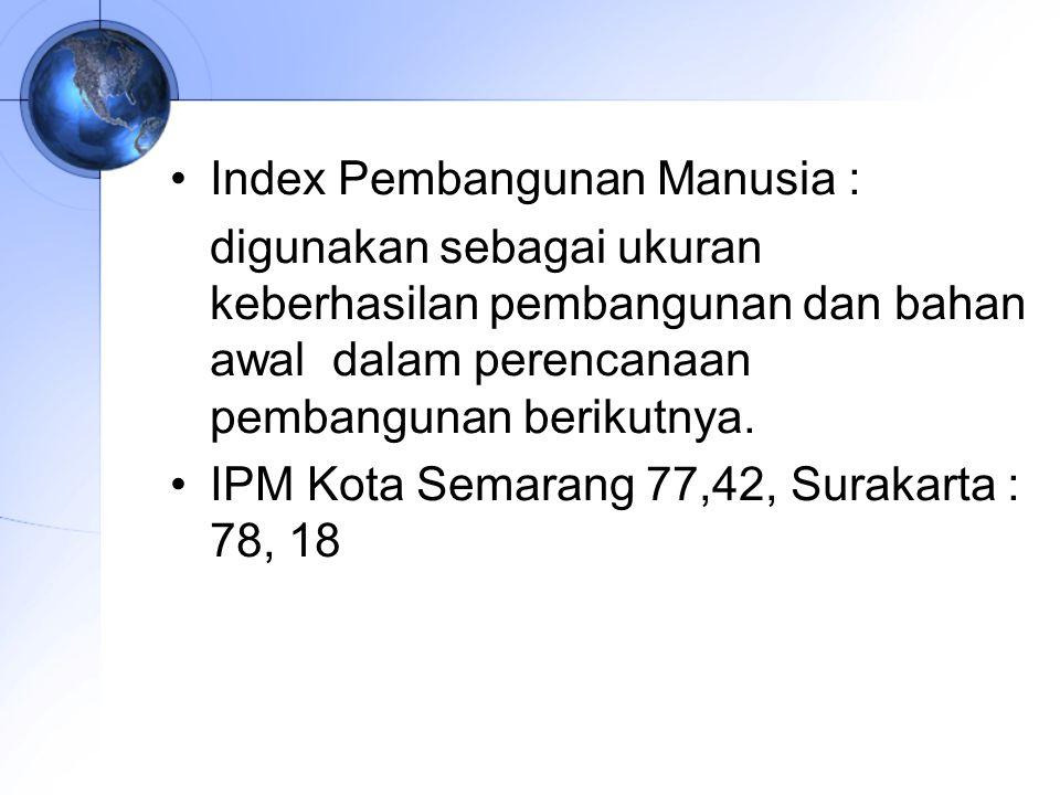 Index Pembangunan Manusia : digunakan sebagai ukuran keberhasilan pembangunan dan bahan awal dalam perencanaan pembangunan berikutnya. IPM Kota Semara