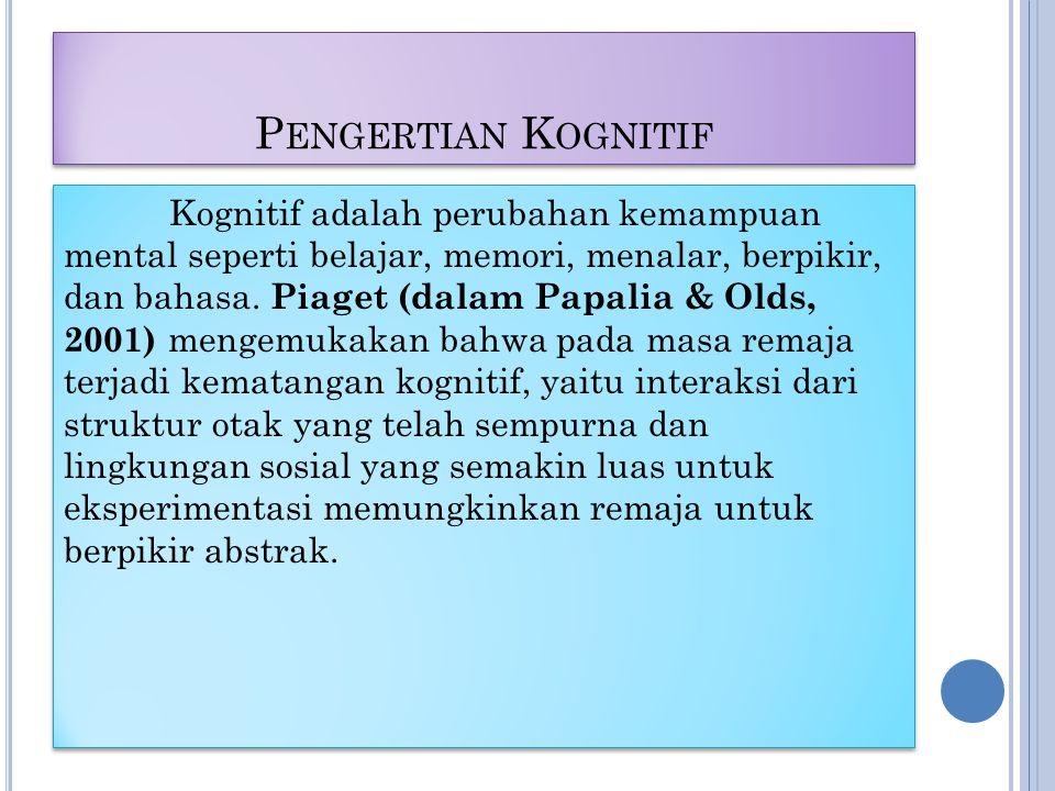 P ENGERTIAN K OGNITIF Kognitif adalah perubahan kemampuan mental seperti belajar, memori, menalar, berpikir, dan bahasa.