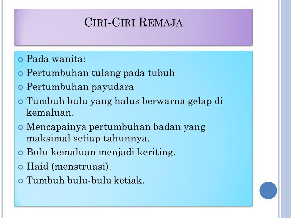 C IRI -C IRI R EMAJA Pada wanita: Pertumbuhan tulang pada tubuh Pertumbuhan payudara Tumbuh bulu yang halus berwarna gelap di kemaluan.