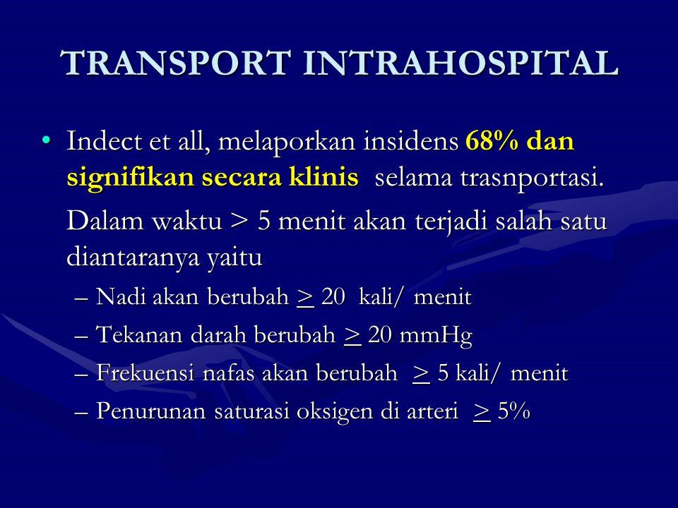 TRANSPORT INTRAHOSPITAL Indect et all, melaporkan insidens 68% dan signifikan secara klinis selama trasnportasi.Indect et all, melaporkan insidens 68%