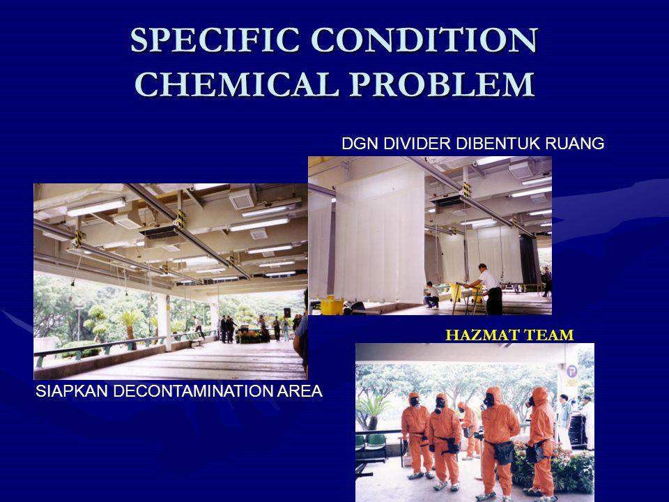 SPECIFIC CONDITION CHEMICAL PROBLEM SIAPKAN DECONTAMINATION AREA DGN DIVIDER DIBENTUK RUANG HAZMAT TEAM