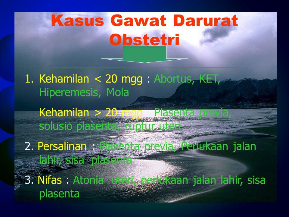 Kasus Gawat Darurat Obstetri 1. 1.Kehamilan < 20 mgg : Abortus, KET, Hiperemesis, Mola Kehamilan > 20 mgg : Plasenta previa, solusio plasenta, ruptur