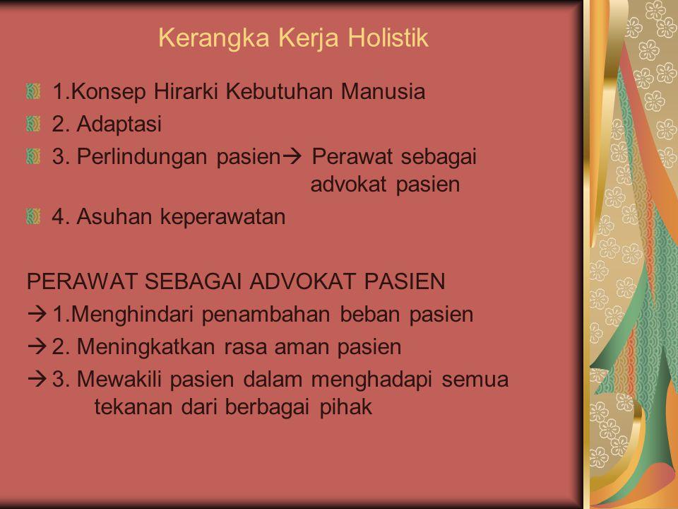 Kerangka Kerja Holistik 1.Konsep Hirarki Kebutuhan Manusia 2. Adaptasi 3. Perlindungan pasien  Perawat sebagai advokat pasien 4. Asuhan keperawatan P