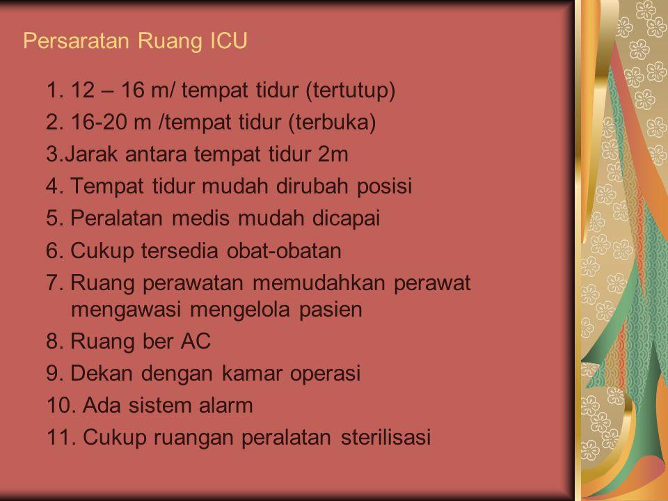 Persaratan Ruang ICU 1. 12 – 16 m/ tempat tidur (tertutup) 2. 16-20 m /tempat tidur (terbuka) 3.Jarak antara tempat tidur 2m 4. Tempat tidur mudah dir