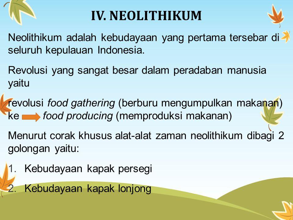 IV. NEOLITHIKUM Neolithikum adalah kebudayaan yang pertama tersebar di seluruh kepulauan Indonesia. Revolusi yang sangat besar dalam peradaban manusia