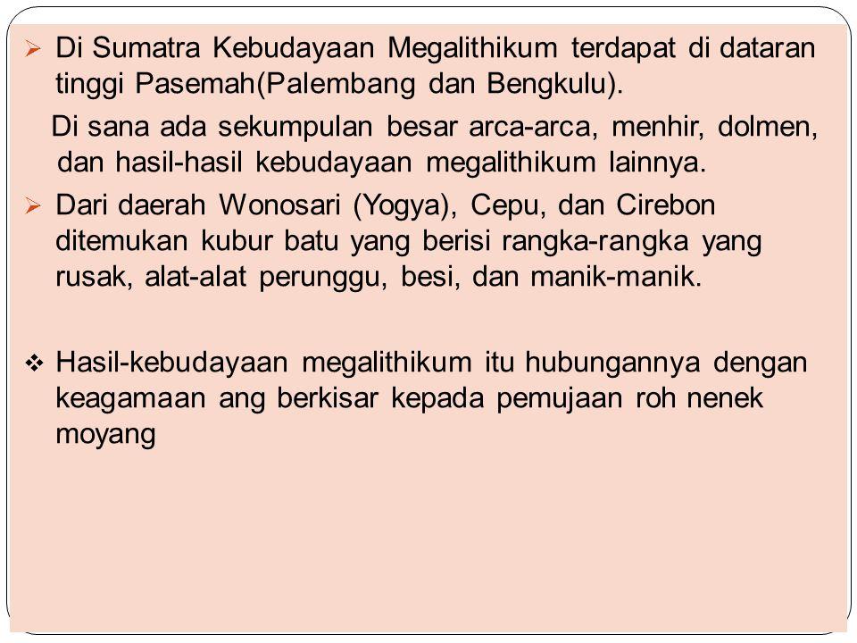  Di Sumatra Kebudayaan Megalithikum terdapat di dataran tinggi Pasemah(Palembang dan Bengkulu). Di sana ada sekumpulan besar arca-arca, menhir, dolme