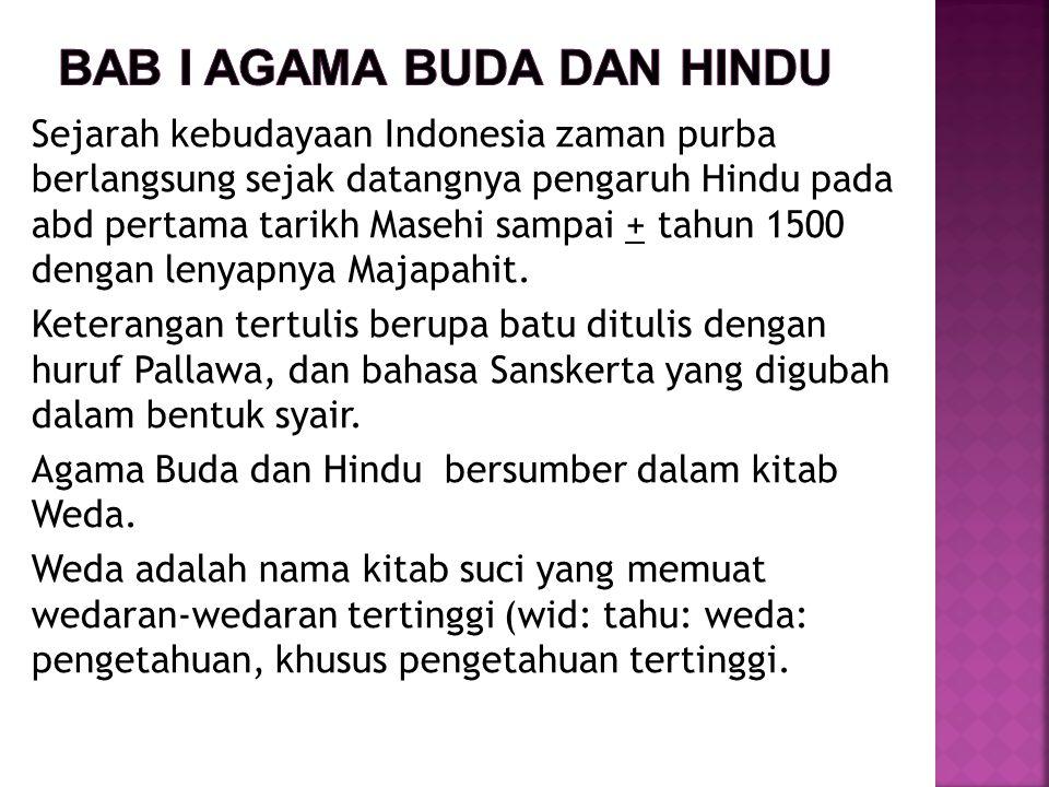 Sejarah kebudayaan Indonesia zaman purba berlangsung sejak datangnya pengaruh Hindu pada abd pertama tarikh Masehi sampai + tahun 1500 dengan lenyapny