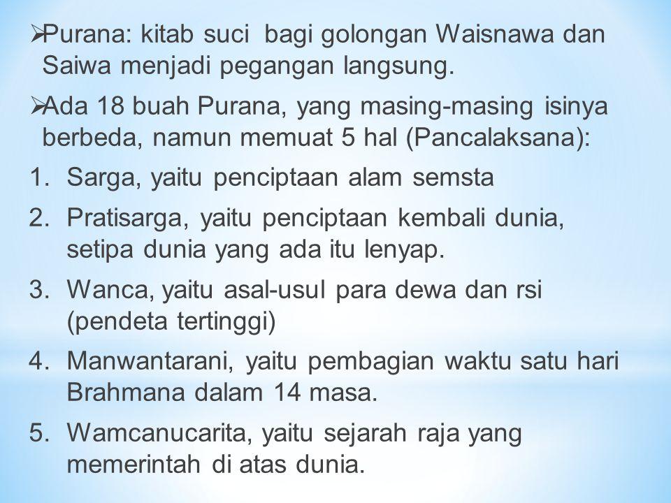  Purana: kitab suci bagi golongan Waisnawa dan Saiwa menjadi pegangan langsung.  Ada 18 buah Purana, yang masing-masing isinya berbeda, namun memuat