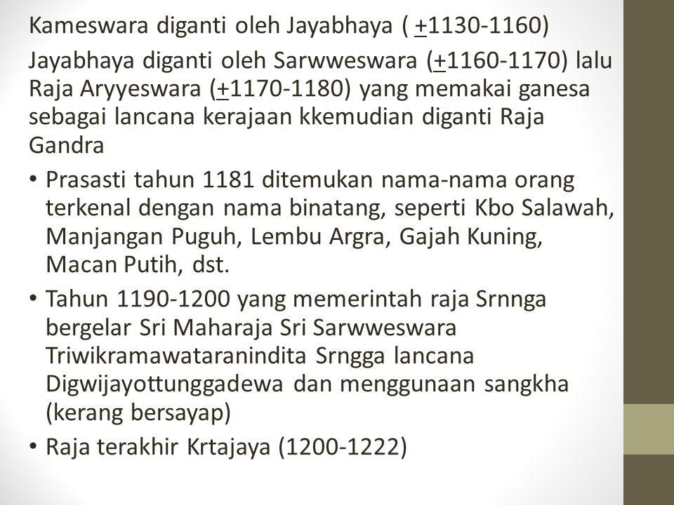 Kameswara diganti oleh Jayabhaya ( +1130-1160) Jayabhaya diganti oleh Sarwweswara (+1160-1170) lalu Raja Aryyeswara (+1170-1180) yang memakai ganesa s