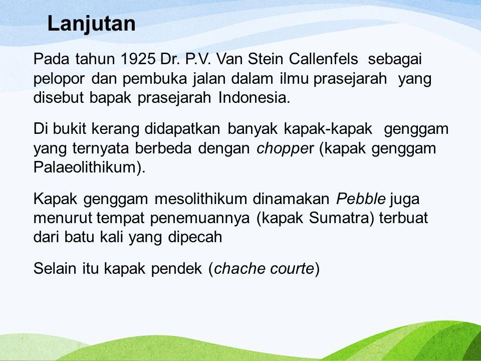 Lanjutan Pada tahun 1925 Dr. P.V. Van Stein Callenfels sebagai pelopor dan pembuka jalan dalam ilmu prasejarah yang disebut bapak prasejarah Indonesia