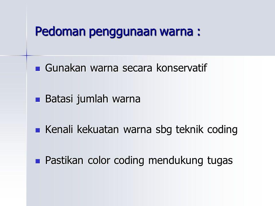 Pedoman penggunaan warna : Gunakan warna secara konservatif Gunakan warna secara konservatif Batasi jumlah warna Batasi jumlah warna Kenali kekuatan w