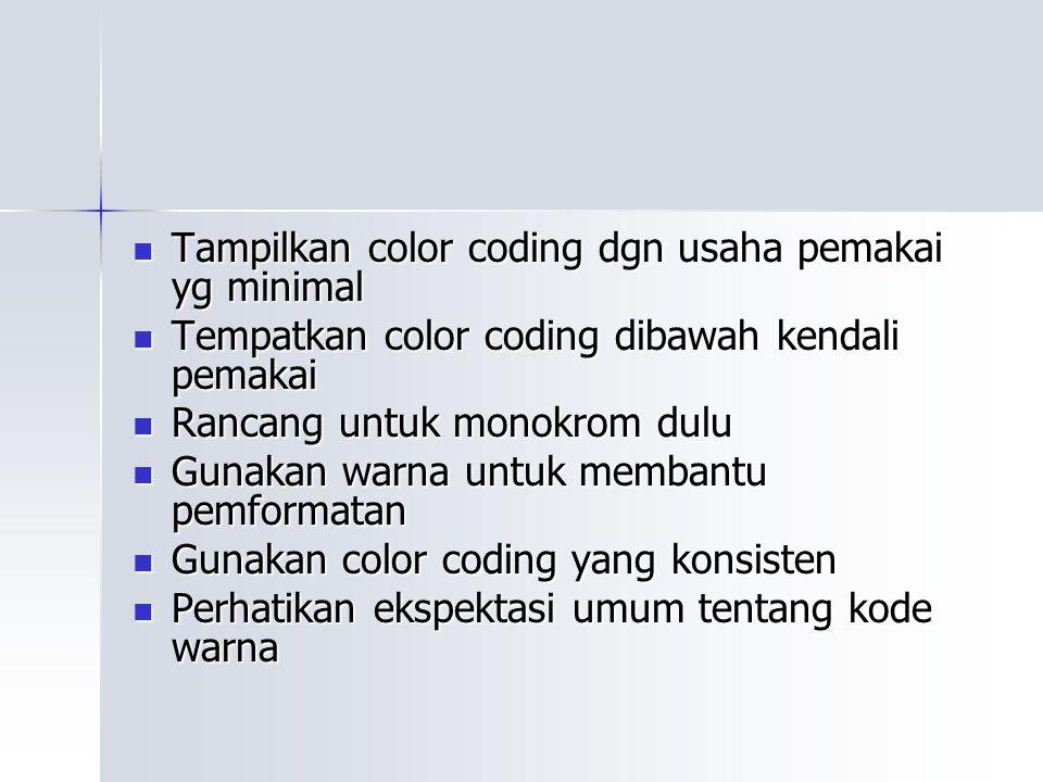 Tampilkan color coding dgn usaha pemakai yg minimal Tampilkan color coding dgn usaha pemakai yg minimal Tempatkan color coding dibawah kendali pemakai Tempatkan color coding dibawah kendali pemakai Rancang untuk monokrom dulu Rancang untuk monokrom dulu Gunakan warna untuk membantu pemformatan Gunakan warna untuk membantu pemformatan Gunakan color coding yang konsisten Gunakan color coding yang konsisten Perhatikan ekspektasi umum tentang kode warna Perhatikan ekspektasi umum tentang kode warna