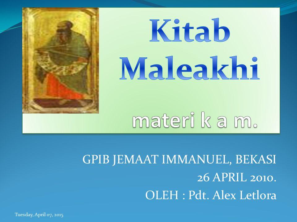 Nama Maleakhi (Ibrani מלאכי - MAL AKHI) berarti utusanku ; nama ini mungkin menjadi singkatan dari Malakhiah yang artinya utusan Tuhan .