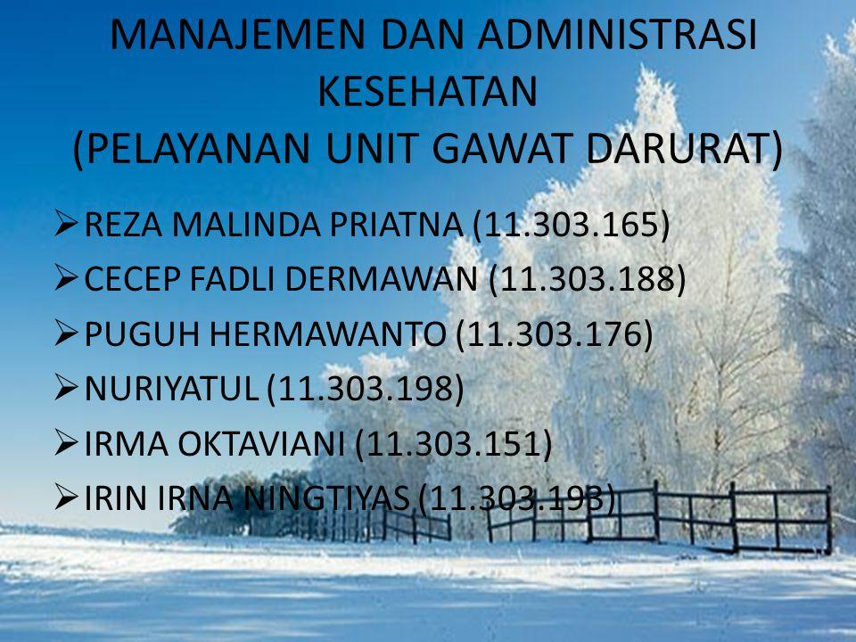 MANAJEMEN DAN ADMINISTRASI KESEHATAN (PELAYANAN UNIT GAWAT DARURAT)  REZA MALINDA PRIATNA (11.303.165)  CECEP FADLI DERMAWAN (11.303.188)  PUGUH HERMAWANTO (11.303.176)  NURIYATUL (11.303.198)  IRMA OKTAVIANI (11.303.151)  IRIN IRNA NINGTIYAS (11.303.193)