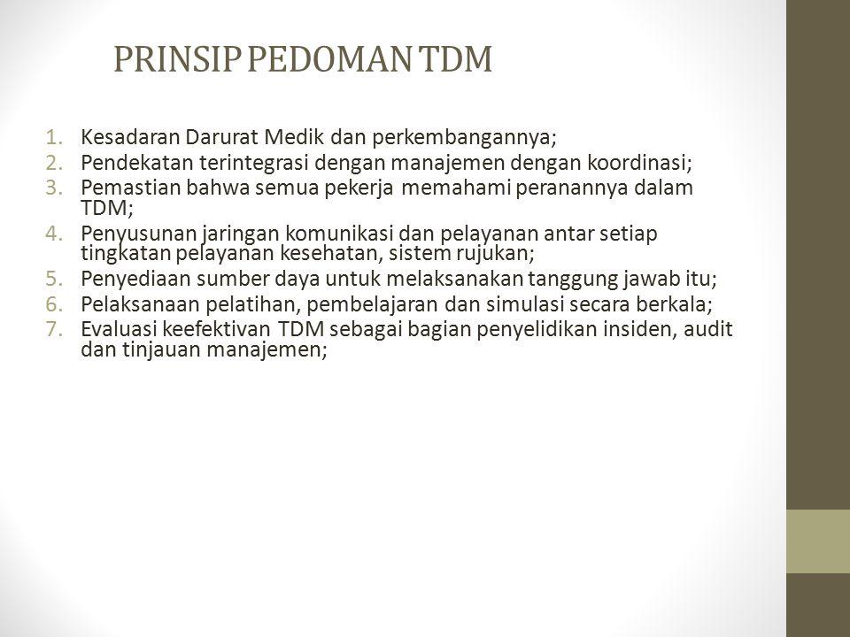 PRINSIP PEDOMAN TDM 1.Kesadaran Darurat Medik dan perkembangannya; 2.Pendekatan terintegrasi dengan manajemen dengan koordinasi; 3.Pemastian bahwa sem