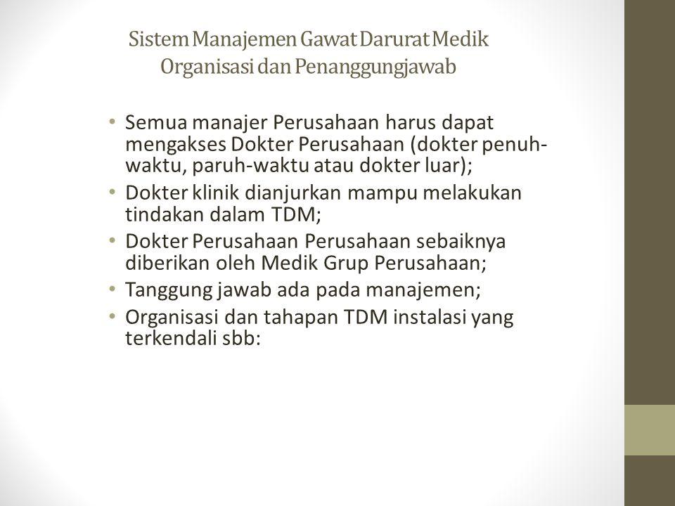 Sistem Manajemen Gawat Darurat Medik Organisasi dan Penanggungjawab Semua manajer Perusahaan harus dapat mengakses Dokter Perusahaan (dokter penuh- wa