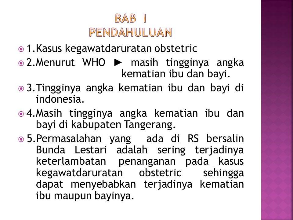  Mengetahui gambaran sistem manajemen pelayanan kegawatdaruratan obstetric di Rumah sakit bersalin Bunda Lestari pada tahun 2014.