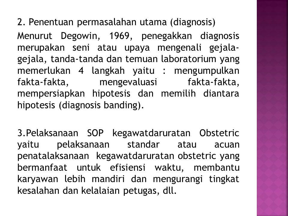 Manajemen pelayanan kegawatdaruratan obstetric di RS Bersalin Bunda Lestari.