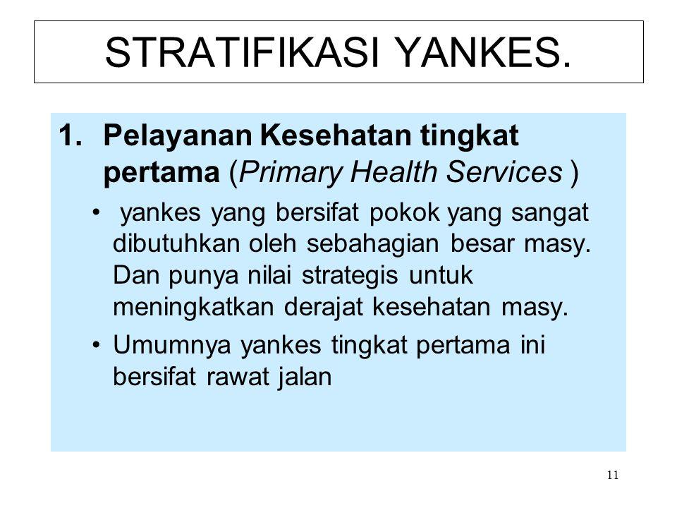 11 STRATIFIKASI YANKES. 1.Pelayanan Kesehatan tingkat pertama (Primary Health Services ) yankes yang bersifat pokok yang sangat dibutuhkan oleh sebaha