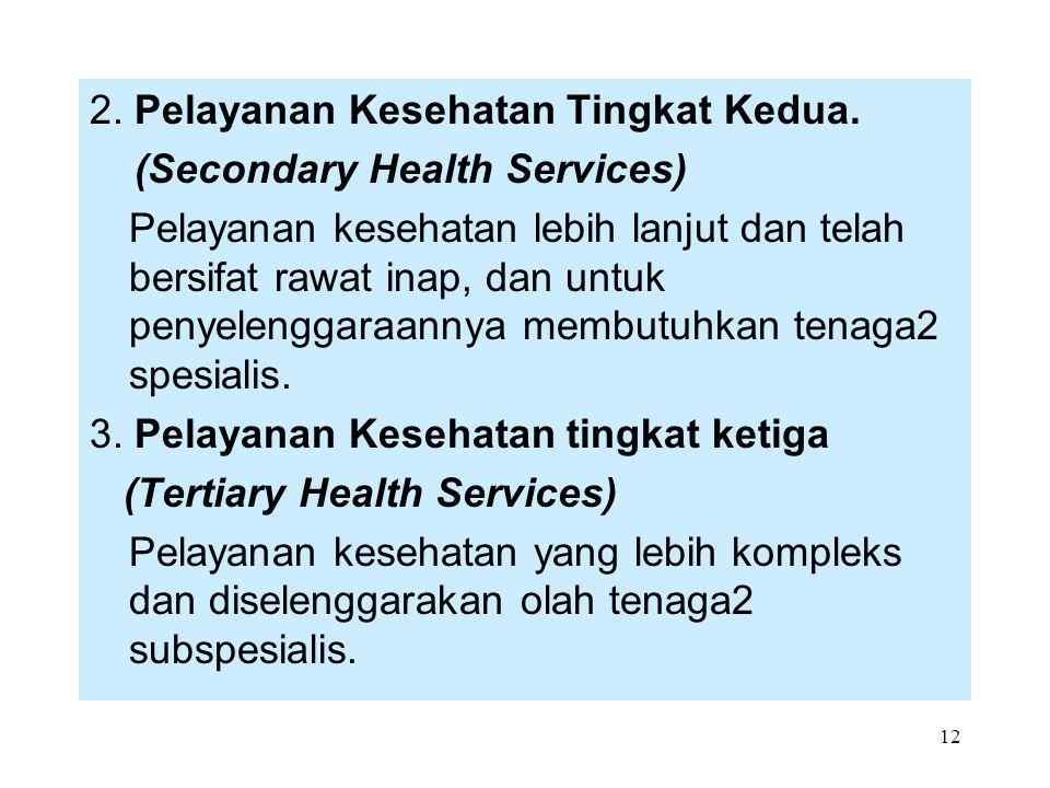 12 2. Pelayanan Kesehatan Tingkat Kedua. (Secondary Health Services) Pelayanan kesehatan lebih lanjut dan telah bersifat rawat inap, dan untuk penyele
