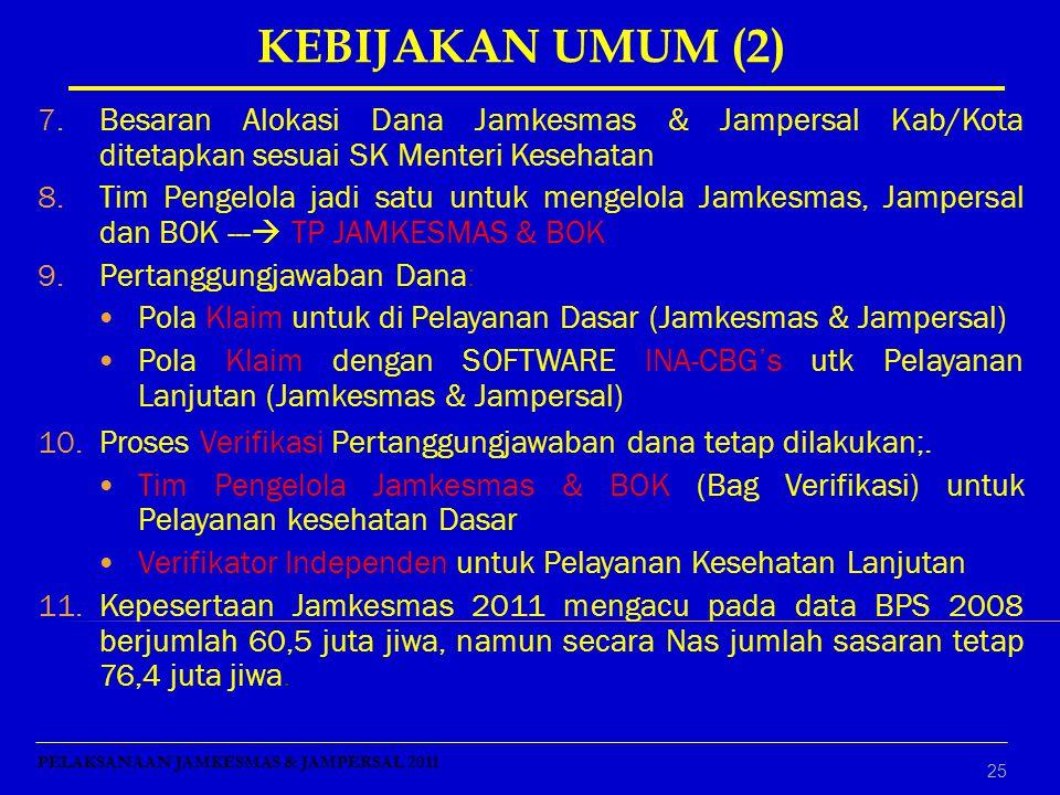 25 7.Besaran Alokasi Dana Jamkesmas & Jampersal Kab/Kota ditetapkan sesuai SK Menteri Kesehatan 8.Tim Pengelola jadi satu untuk mengelola Jamkesmas, J
